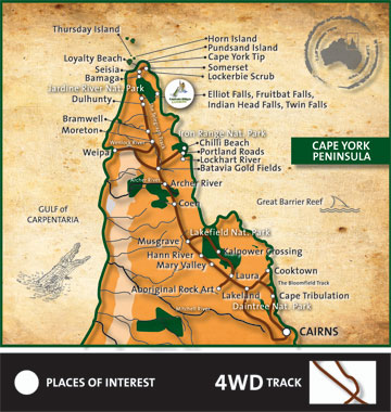 Captain Billy's 4WD Hire - Cape York Map